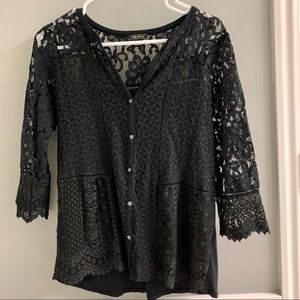 Lucky Brand Black Lace Blouse